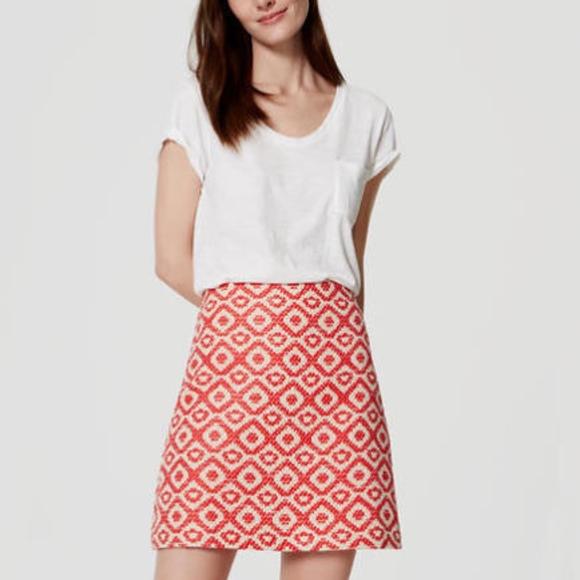 6d4908a901 LOFT Skirts | Red Tweed Geo Jacquard Shift Mini Skirt | Poshmark